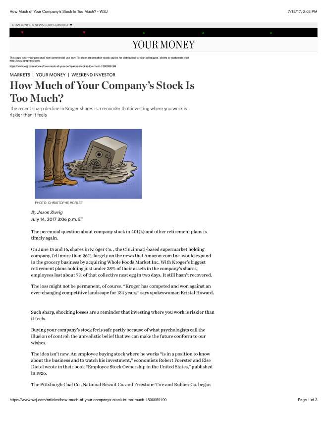 WSJ article-How Much of Your Company_s Stock Is Too Much_ - WSJ_Page_1